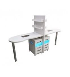 Стол для маникюра двухместный с УФ блоками и вытяжками