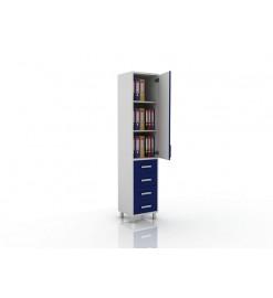 Шкаф для документов (глухая дверца сверху, снизу три ящика) 105-001-15